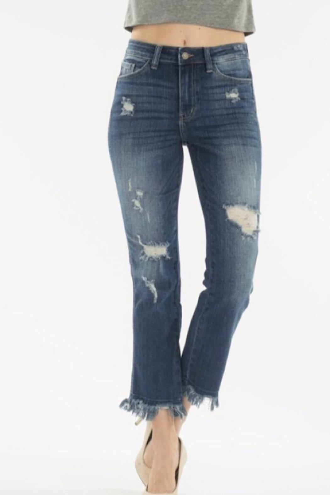 Nature Denim High Rise Distressed Jean - Front Full Image