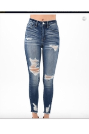 Nature Denim Medium Wash High Rise Distressed Skinny Jeans - Front cropped