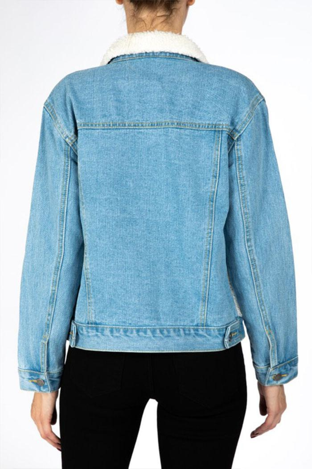 Nature Denim Sherpa Denim Jacket - Back Cropped Image