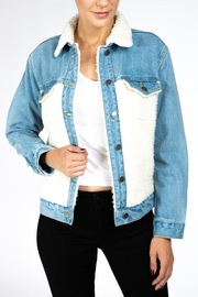 Nature Denim Sherpa Denim Jacket - Front cropped