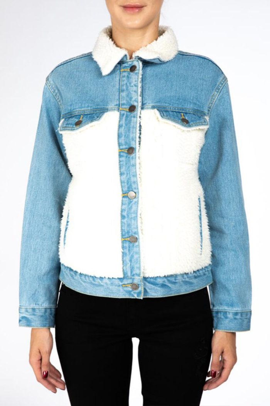 Nature Denim Sherpa Denim Jacket - Front Full Image