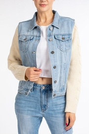 Nature Denim Sweater Sleeve Jacket - Front cropped