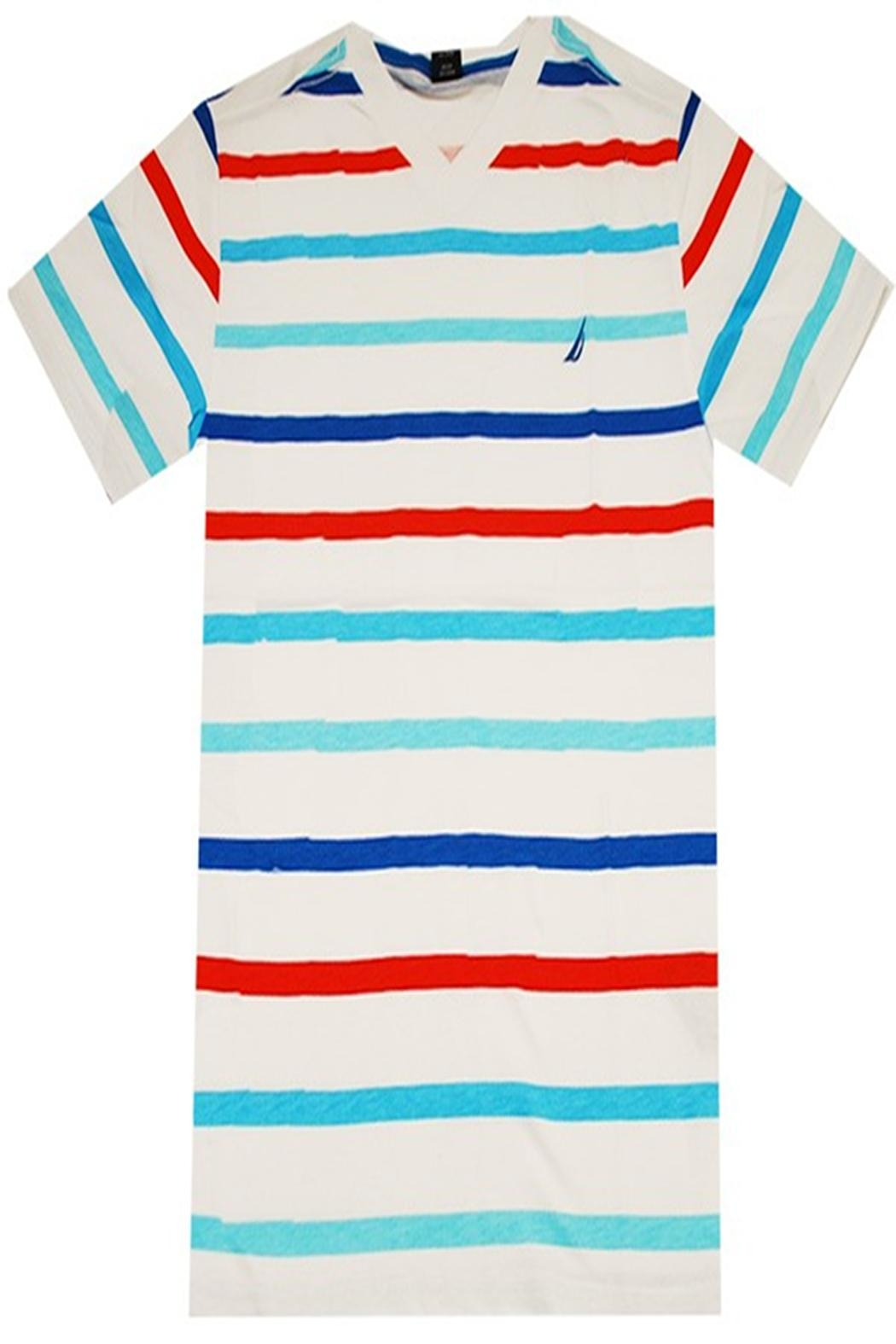 Nautica Striped V-Neck Tee - Front Cropped Image