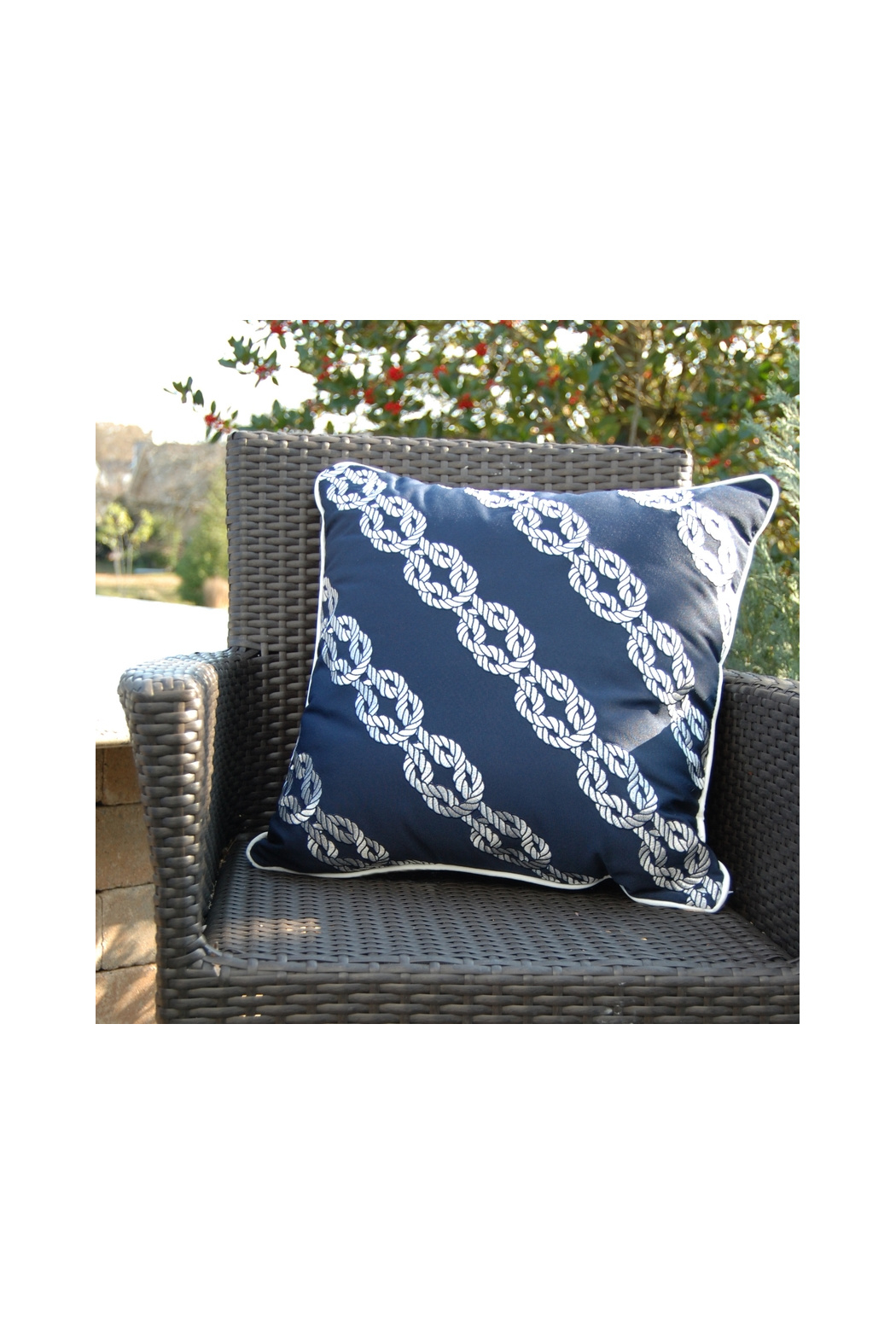RIGHT SIDE DESIGN Nautical Rope Chain Indoor Outdoor Pillow - Main Image