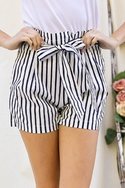 Lyn -Maree's Nautical Stripe Bag Shorts - Front cropped