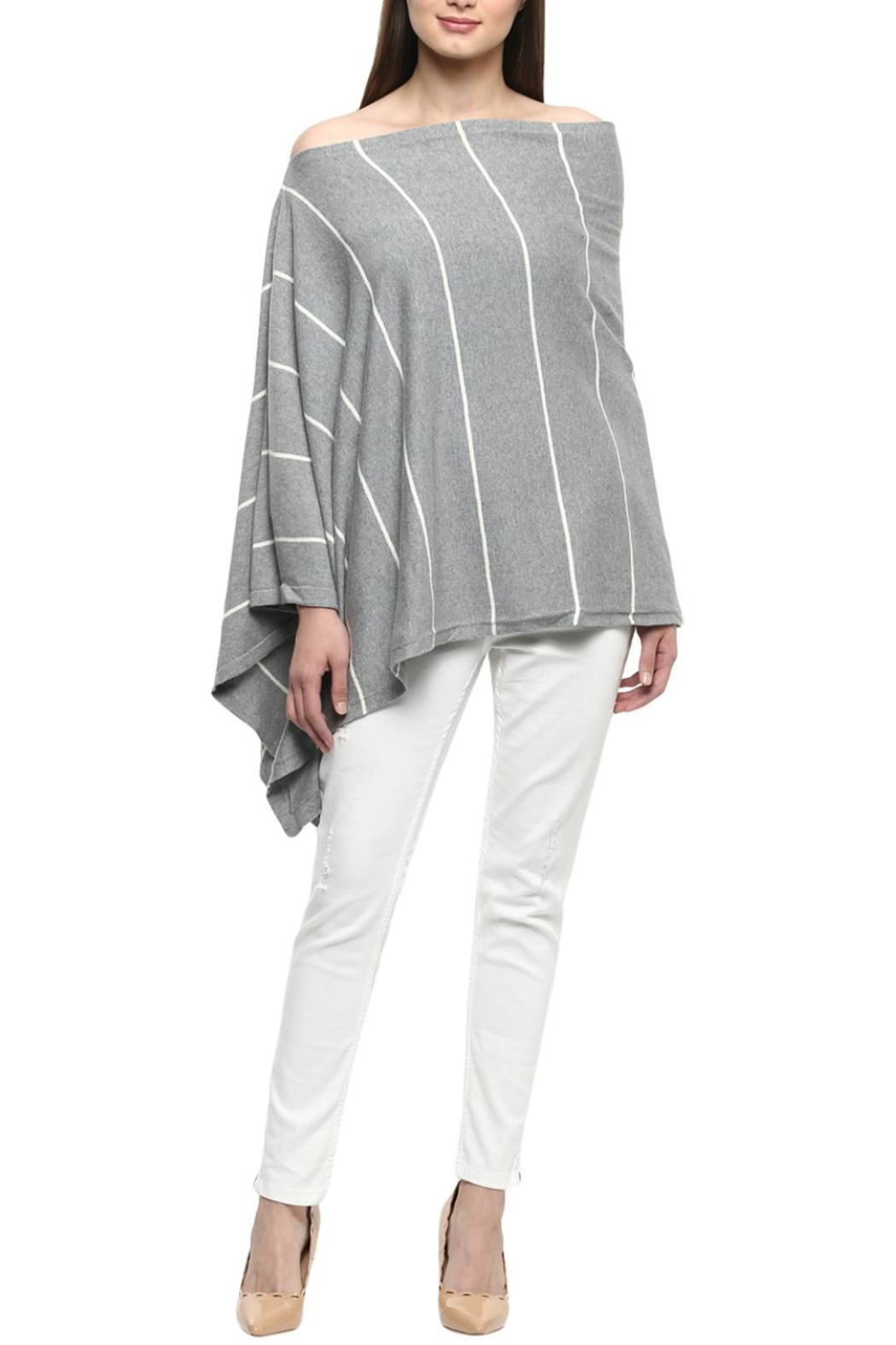 Darzzi Nautical Stripe Poncho - Main Image