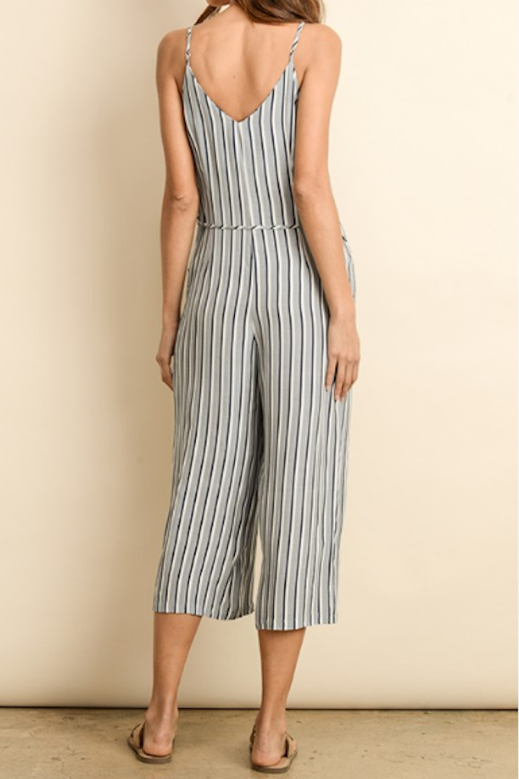 Dress Forum  Nautical Striped Button Down Jumpsuit - Front Full Image