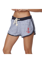 INGEAR FASHIONS Nautical Terry Stripe Anchor Short - Product Mini Image