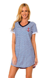 INGEAR FASHIONS Nautical theme Terry striped Anchor dress - Front cropped