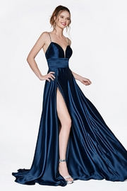 Cinderella Divine Navy A-Line Satin Long Formal Dress - Product Mini Image