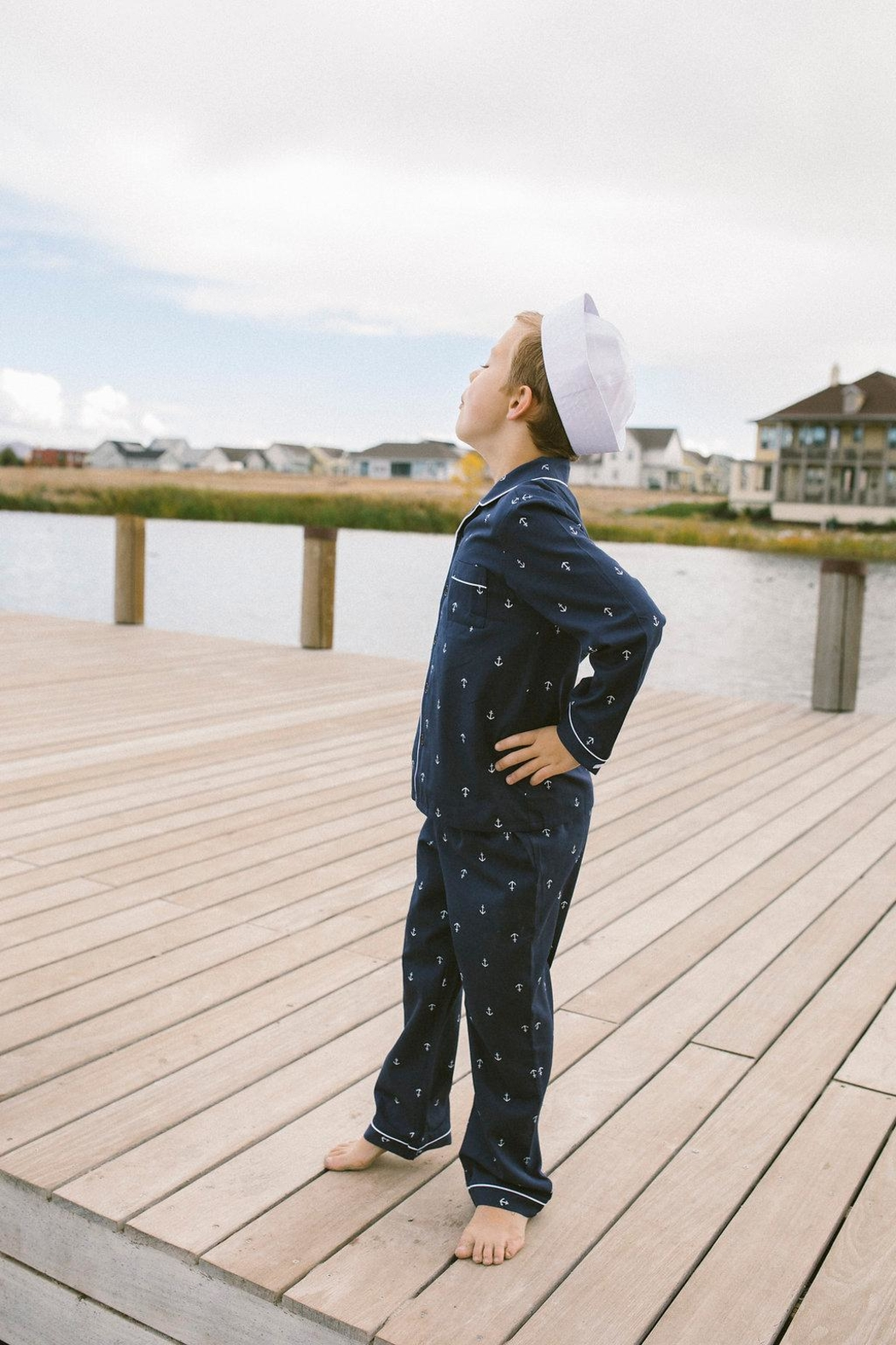 PETITE PLUME Navy Anchor Pajamas - Main Image