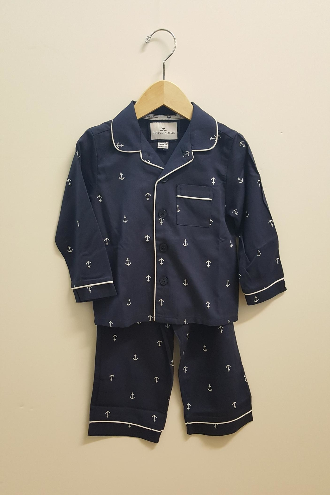 PETITE PLUME Navy Anchor Pajamas - Front Full Image