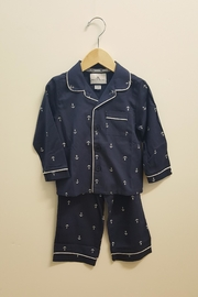 PETITE PLUME Navy Anchor Pajamas - Front full body