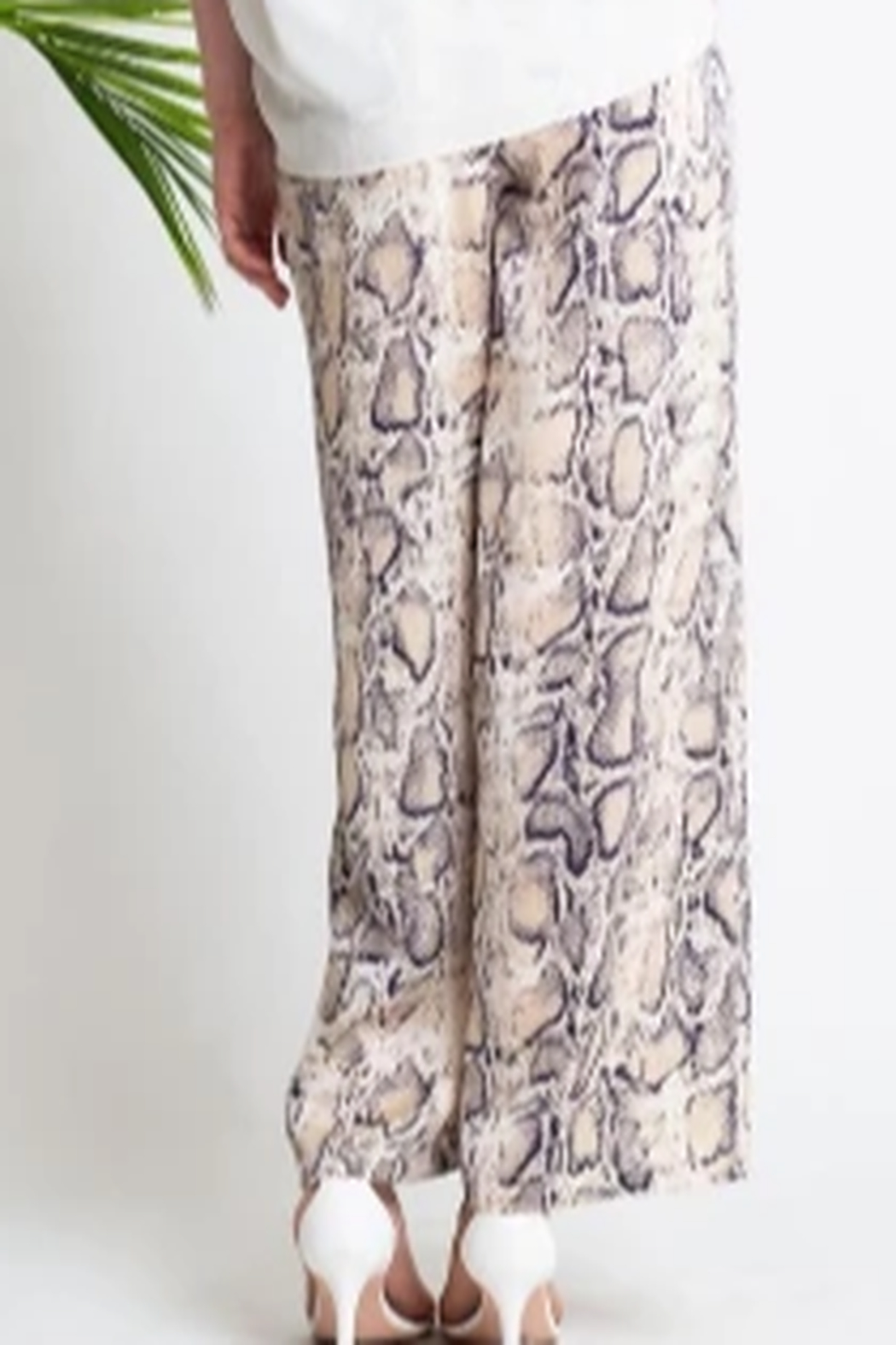 Glam Navy And Cream Snake Print Pant - Front Full Image