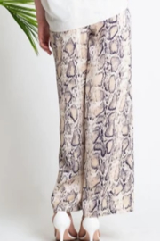 Glam Navy And Cream Snake Print Pant - Front full body