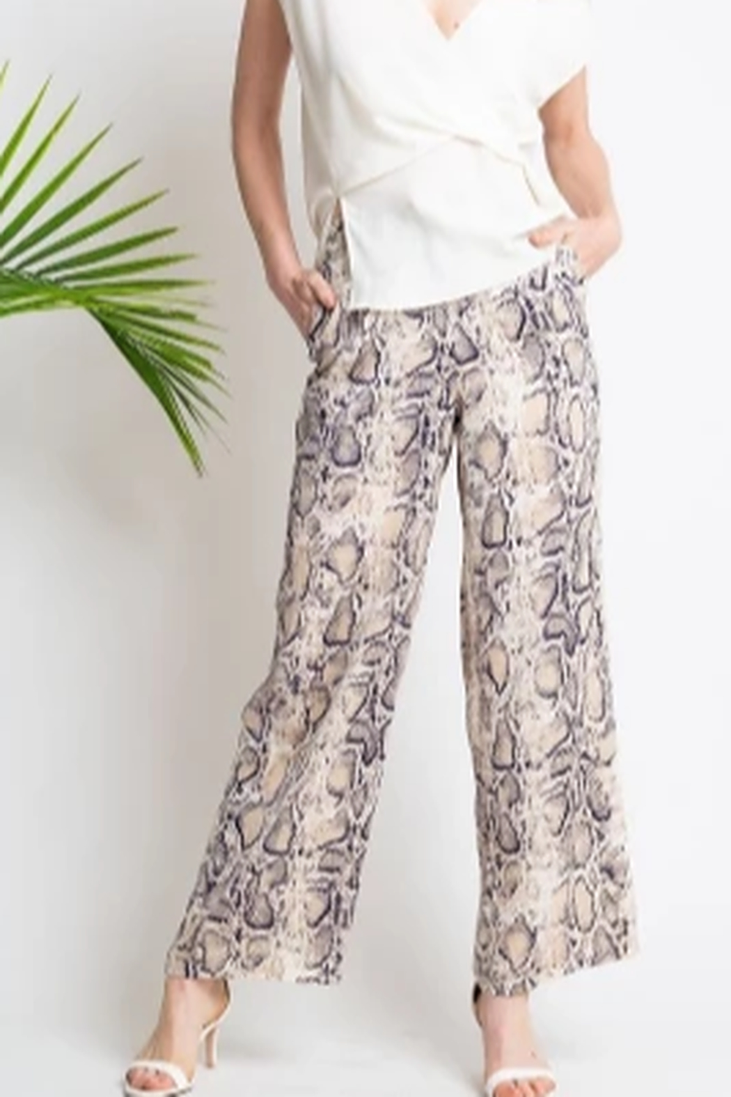 Glam Navy And Cream Snake Print Pant - Front Cropped Image