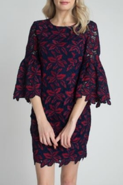 Minuet Navy and Red Lace Flare Sleeve Dress - Product Mini Image