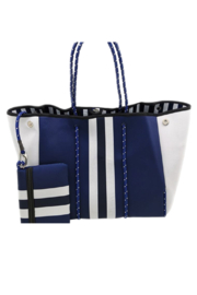 Claudette Navy and White Neoprene Purse - Front cropped