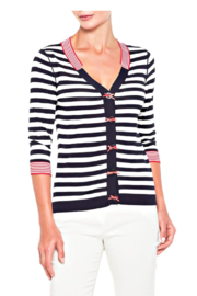 Elena Wang Navy and White Striped Cardi - Product Mini Image