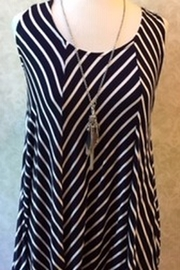 ellumiNation Navy and white striped tunic top - Product Mini Image