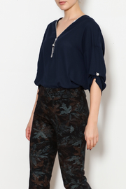 Bali Navy Blouse with Peal Details - Product Mini Image