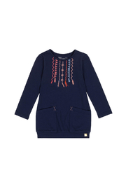 Deux Par Deux Navy Blue Cardigan With Large Pockets - Front cropped