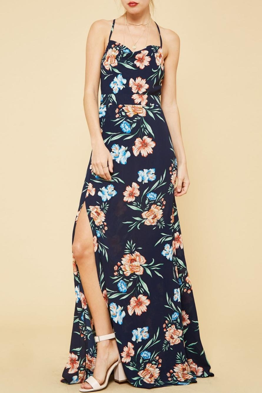 dd15f93a91a Navy Blue Floral Maxi Dress With Sleeves - Gomes Weine AG