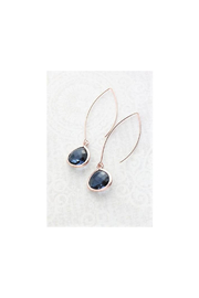 The Birds Nest Navy Blue Glass Earrings - Long Rose Gold Dangle - Product Mini Image