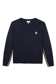 Paul Smith Junior Navy-Blue 'Telo' Cardigan - Front cropped