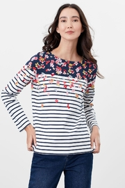 Joules Navy Border Long Sleeve Top - Product Mini Image