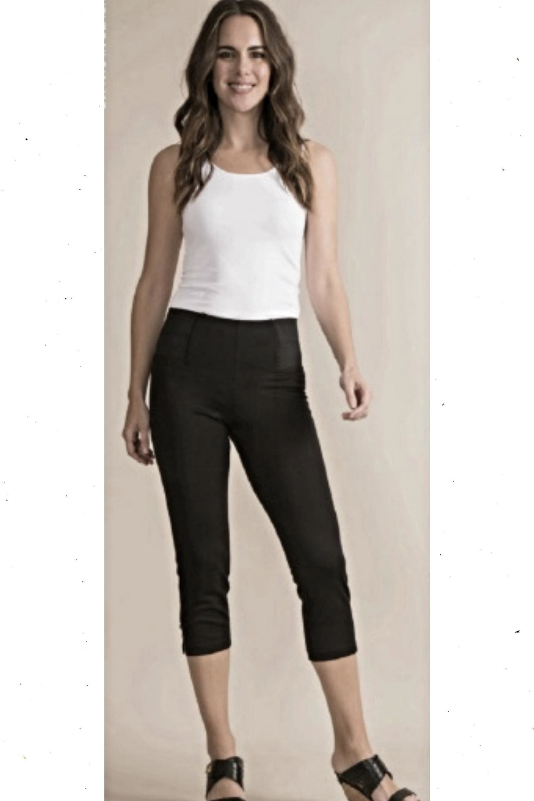 Simply Noelle Navy Button Capri-Pants - Front Cropped Image