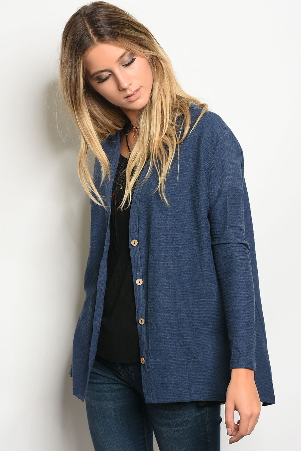 Very J  Navy Button Cardigan - Main Image
