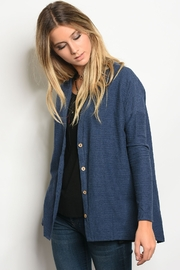 Very J  Navy Button Cardigan - Front cropped