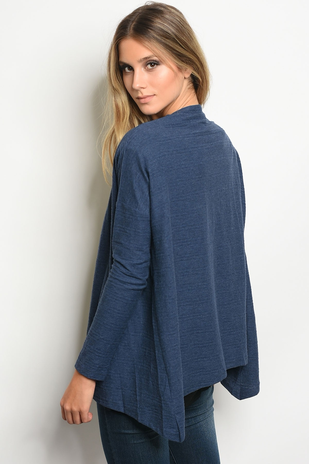 Very J  Navy Button Cardigan - Front Full Image