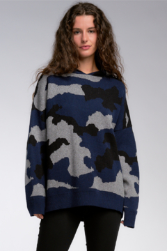 Shoptiques Product: Navy Camo Oversized Knit Hoodie