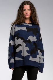 Elan Navy Camo Oversized Knit Hoodie - Front cropped