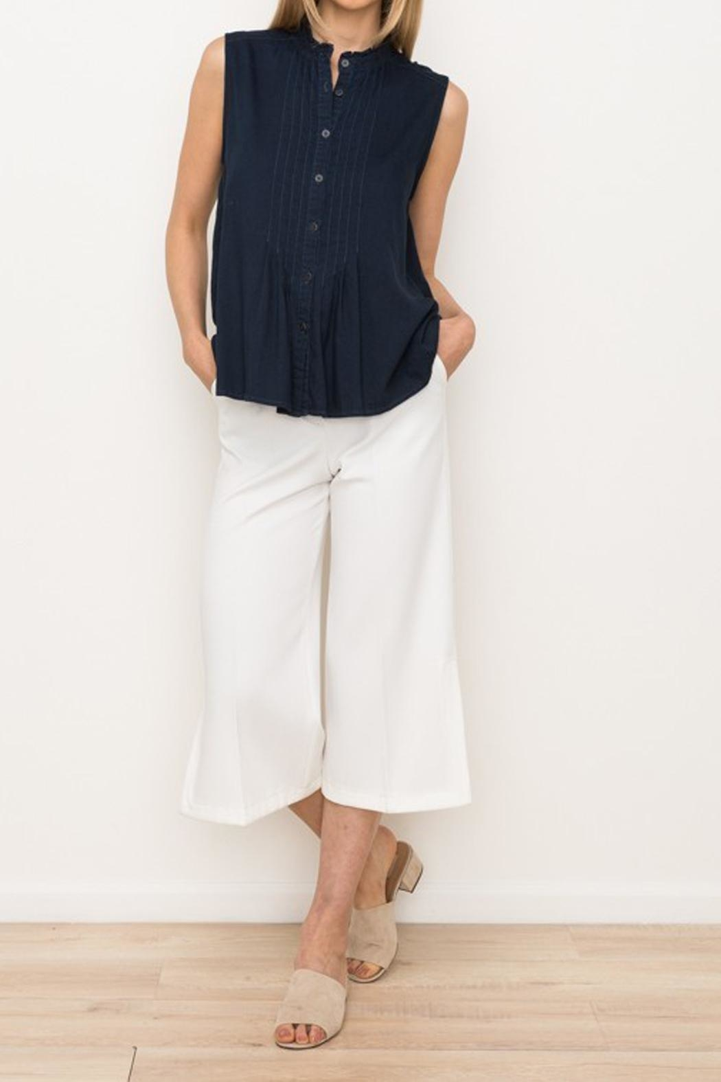 Mystree Navy Chambray Tank - Side Cropped Image