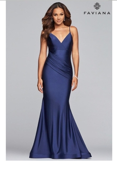 Faviana Navy Charmeuse Gown - Product List Image