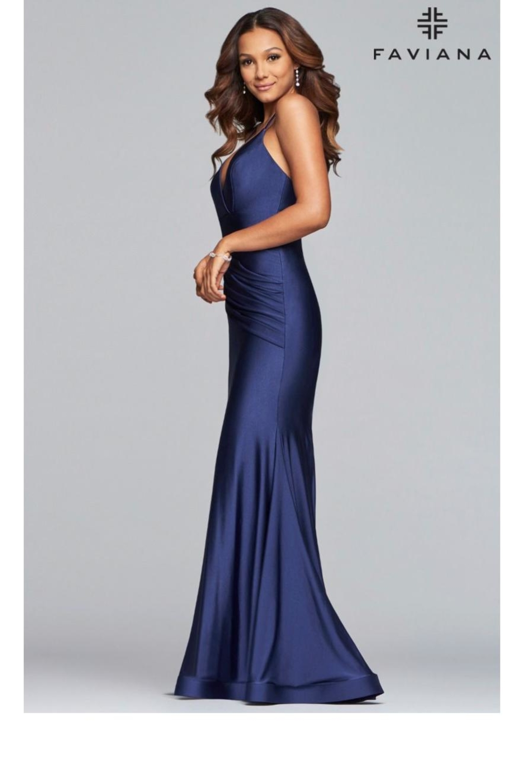 Faviana Navy Charmeuse Gown - Front Full Image