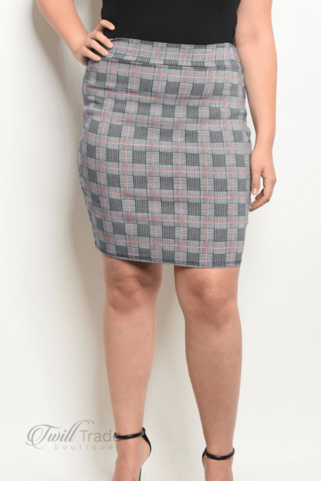 Zenobia Navy Checked Skirt - Front Cropped Image