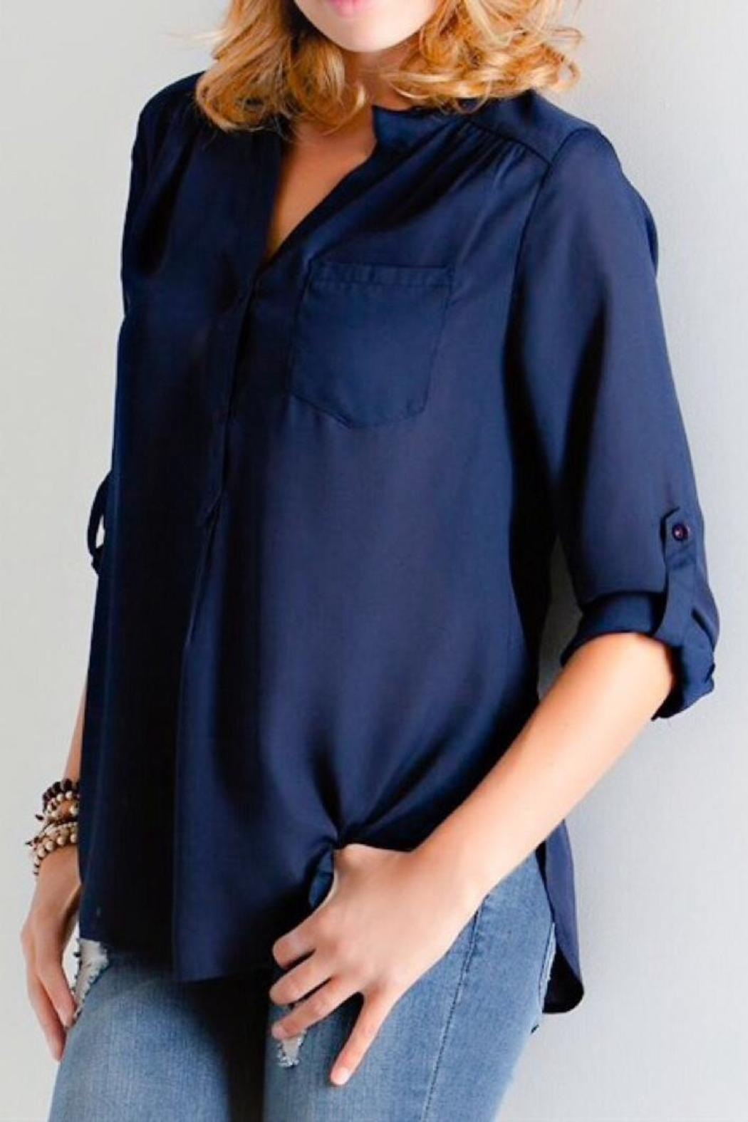 Navy Chiffon Blouse from Washington by LuLu's Boutique — Shoptiques