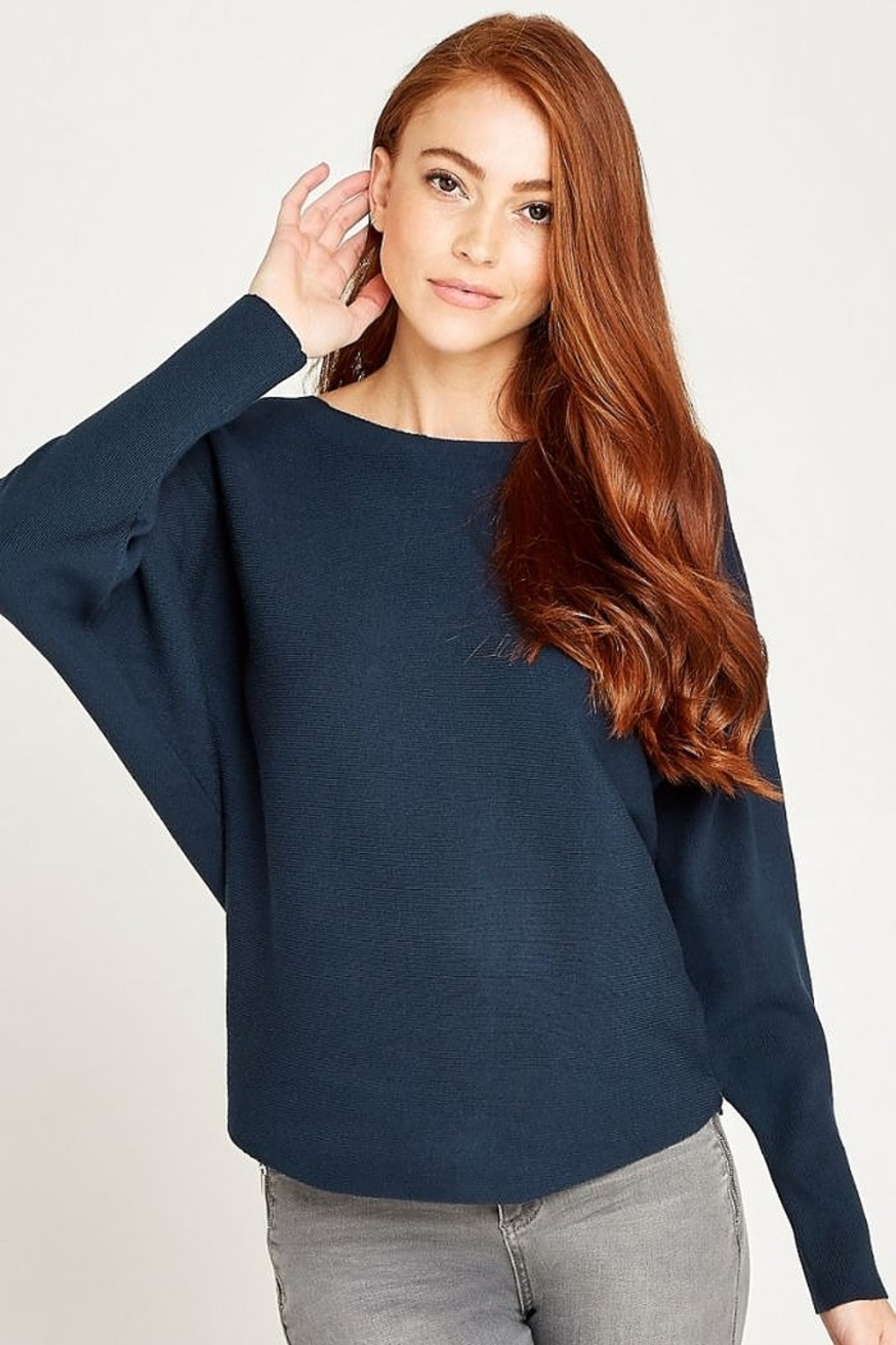 Apricot Clean Look Batwing Sweater Top - Front Full Image