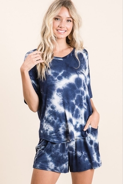 Lime n Chili Navy Cloud Tie Dye Set - Product List Image