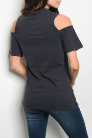 Very J Navy Cold-Shoulder Top - Front full body