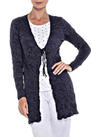 Alison Sheri Navy Crinkle Tie Front Cardigan - Front cropped