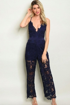 Shoptiques Product: Navy Crochet Jumpsuit