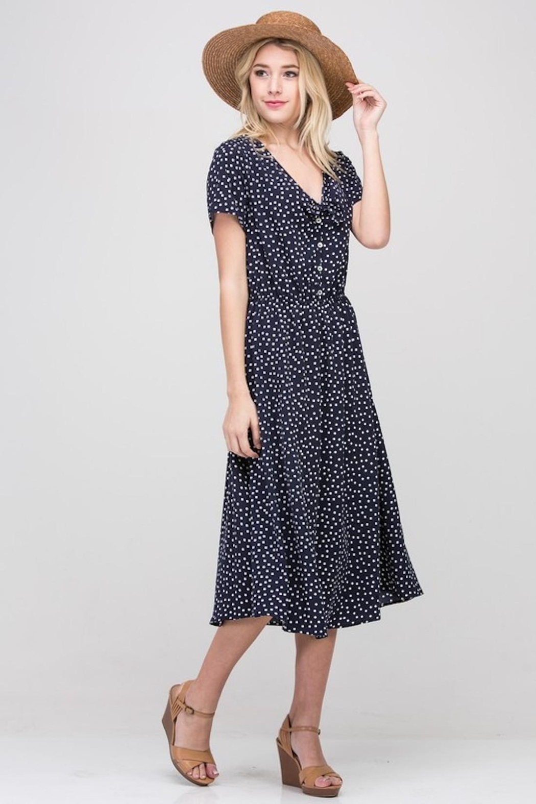 Les Amis Navy Dainty-Dots Dress - Back Cropped Image