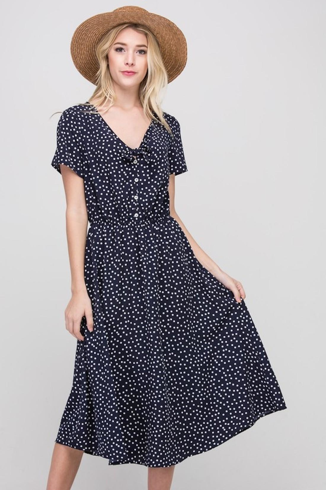 Les Amis Navy Dainty-Dots Dress - Front Full Image