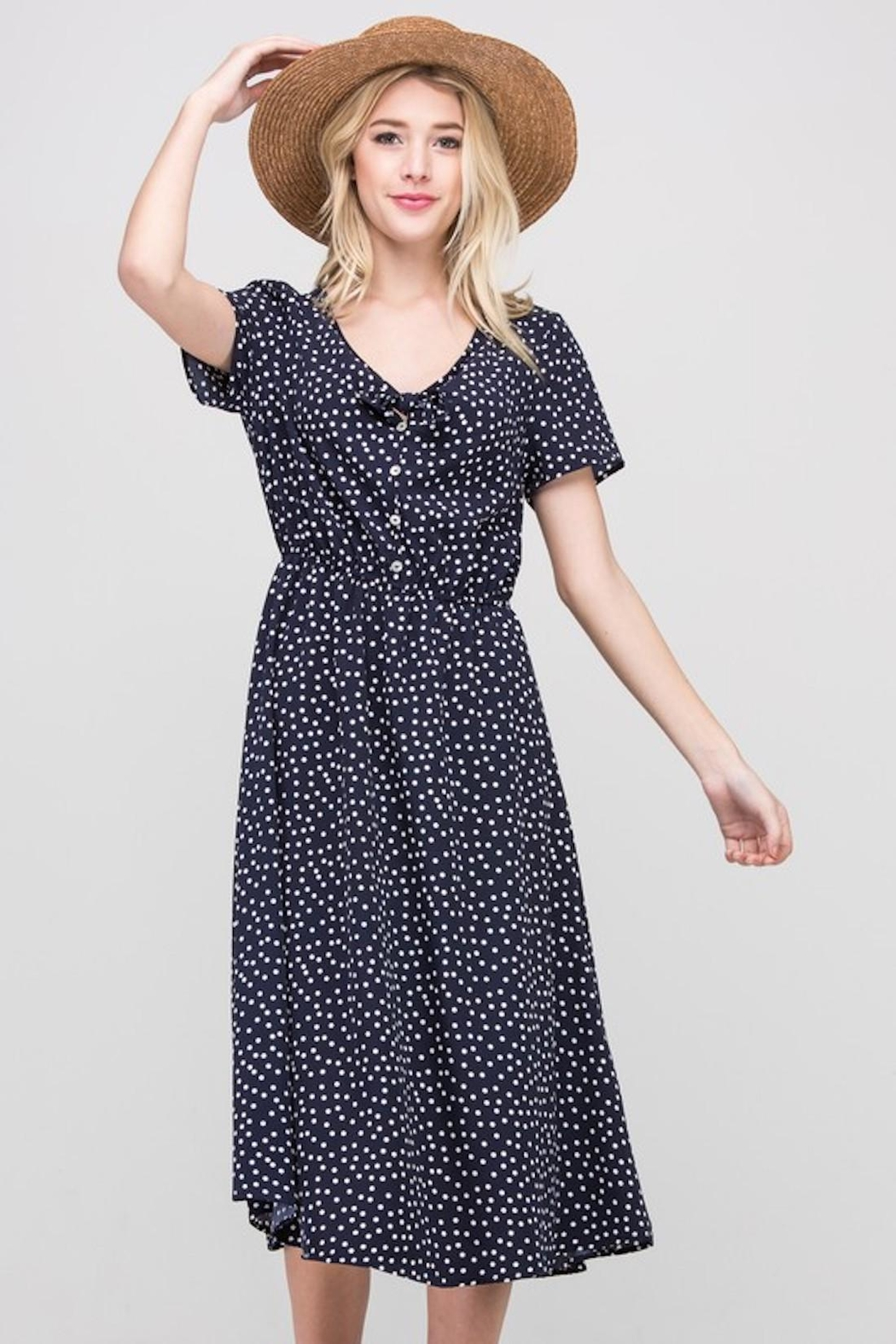 Les Amis Navy Dainty-Dots Dress - Side Cropped Image