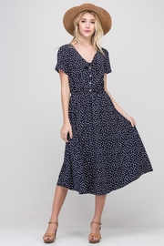 Les Amis Navy Dainty-Dots Dress - Front cropped